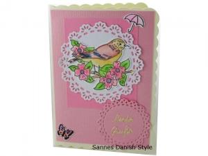 Süße Grußkarte mit Vogelmotiv, Geburtstagskarte, Vogelkarte, Liebe Grüße, die Karte hat ca. DIN A6 (14,8 x 10,5 cm) Format  - Handarbeit kaufen
