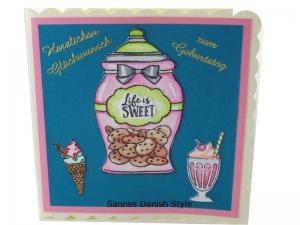 Geburtstagskarte mit Eis und Kekse, für den süßen Zahn, Schöne Geburtstagskarte in überwiegend Türkis und Rosa gehalten, die Karte ist ca. 15 x 15 cm - Handarbeit kaufen