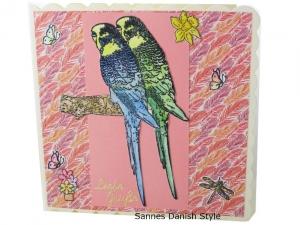 Wellensittiche Grußkarte, Geburtstagskarte mit süße Wellensittiche drauf, in Blau, Gelb und Grüntöne, die Karte ist ca. 15 x 15 cm - Handarbeit kaufen
