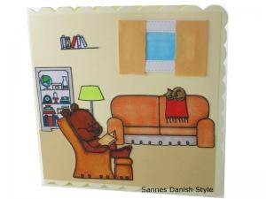 Grußkarte ohne Text, Ruhestandskarte, Geburtstagskarte, Bär im Sessel, die Karte ist ca. 15 x 15 cm - Handarbeit kaufen