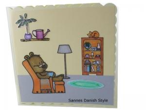 Zur Ruhestand, Grußkarte ohne Text, Ruhestandskarte, Geburtstagskarte, Bär im Sessel, die Karte ist ca. 15 x 15 cm  - Handarbeit kaufen