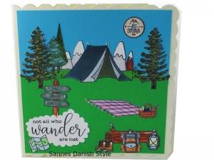 Geburtstagskarte, Zelt, Rucksack, Wanderstiefel und englische Text not all who wander are lost, Urlaubskarte. ca. 15 x 15 cm  - Handarbeit kaufen