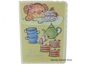 3D Geburtstagskarte, Bär mit Torte, Torte Stücke, Tassen, Tee und Kanne, Süße Geburtstagskarte, die Karte hat ca. DIN A6 (14,8 x 10,5 cm) Format - Handarbeit kaufen