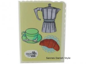 3D Grußkarte, Kaffee, Kaffeetasse und Croissant, man gönnt sich sonst nix Grußkarte, die Karte hat ca. DIN A6 (14,8 x 10,5 cm) Format - Handarbeit kaufen