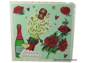 Geburtstagskarte mit Blumen und Perlenwein, zur Bestandenen Prüfung, Führerschein, in Ruhestand, die Karte ist ca. 15 x 15 cm - Handarbeit kaufen