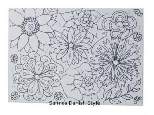 Schöne Postkarte mit Blumen, zum Ausmalen, mit Fineliner auf Postkarte gezeichnet, die Postkarte ist ca. DIN A6 (14,8 x 10,5 cm) - Handarbeit kaufen