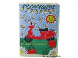 16. Geburtstagskarte, Mädchen, Roller, 3D Geburtstagskarte, Moped, Mädchen, Motorroller, Helm und Handtasche, Karte für Mädchen, die Karte ist ca. DIN A6 Format - Handarbeit kaufen