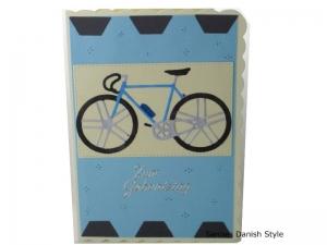 Geburtstagskarte für Radfahrer, blaues Fahrrad mit Trinkflasche, die Karte ist ca. DIN A6 (14,8 x 10,5 cm) Format - Handarbeit kaufen