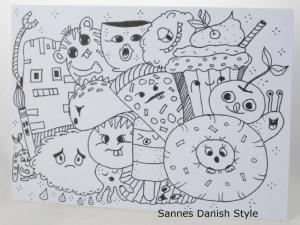 Außergewöhnliche Postkarte mit Fantasiewesen, zum Ausmalen, mit Fineliner auf Postkarte gezeichnet, die Postkarte ist ca. DIN A6 (14,8 x 10,5 cm) - Handarbeit kaufen