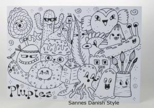 Postkarte Essen und Trinken, Ausmalkarte mit Plupies, Bastelspaß und Kreativität, die Postkarte ist ca. DIN A6 (14,8 x 10,5 cm) - Handarbeit kaufen