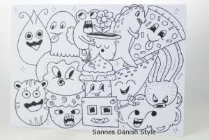 Postkarte mit Ausmalfiguren, Ausmalkarte mit Plupies, Bastelspaß und Kreativität, die Postkarte ist ca. DIN A6 (14,8 x 10,5 cm - Handarbeit kaufen