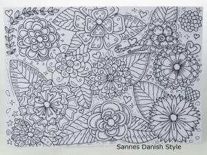 Postkarte mit Blumen, ausmalen, direkt auf eine Postkarte gezeichnet, Ausmalkarte, mit Fineliner, die Postkarte ist ca. DIN A6 (14,8 x 10,5 cm) - Handarbeit kaufen