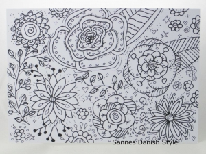Blumenpostkarte, ausmalen, Motive direkt auf eine Postkarte gezeichnet, Ausmalkarte, mit Fineliner, die Postkarte ist ca. DIN A6 (14,8 x 10,5 cm) - Handarbeit kaufen