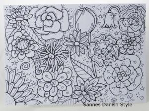 Ausmalen, Postkarte, Motive mit Fineliner auf die Postkarte gezeichnet, zum Ausmalen, Blumenkarte, die Postkarte ist ca. DIN A6 (14,8 x 10,5 cm) (Kopie id: 100283522) - Handarbeit kaufen