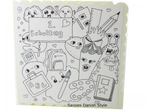 Ausmalkarte für den Schulanfang, Grußkarte Ausmalen, Karte für die Schule, Einschulung, Karte zum Ausmalen, mit Plupies, die Karte ist ca. 15 x 15 cm - Handarbeit kaufen