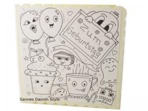Geburtstagskarte zum Ausmalen, Grußkarte Ausmalen, Kinderkarte, Zum Geburtstag, mit Plupies, die Karte ist ca. 15 x 15 cm - Handarbeit kaufen