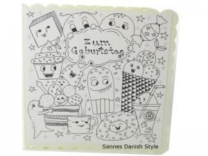 Ausmalen Geburtstagskarte, Grußkarte Ausmalen, Kinderkarte, Zum Geburtstag, mit Plupies, die Karte ist ca. 15 x 15 cm - Handarbeit kaufen