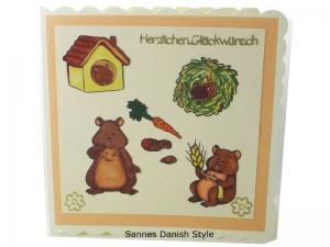 Geburtstagskarte mit Hamster, 3D Geburtstagskarte, Hamster mit Marker ausgemalt, Tierliebe, süße Hamster, die Karte ist ca. 15 x 15 cm - Handarbeit kaufen