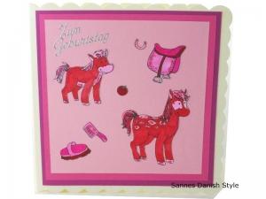 Süße Pferdekarte, viel Glitzer, rosa pinke Pferde, Mädchenträume, schöne Geburtstagskarte mit Pferde, Grußkarte, Glückwunschkarte, die Karte ist ca. 15 x 15 cm - Handarbeit kaufen