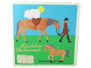 Geburtstagskarte Mädchen mit Pferd und Fohlen, schöne Geburtstagskarte für Mädchen, die Karte ist ca. 15 x 15 cm - Handarbeit kaufen
