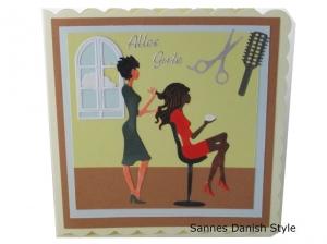 Geburtstagskarte Friseur, Grußkarte für die Frau, Friseur Gutschein, 3D Geburtstagskarte Friseur, Grußkarte Geldgeschenk, schnell bestellen, die Karte ist ca. 15 x 15 cm - Handarbeit kaufen