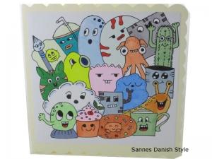 Geburtstagskarte, Grußkarte mit Plupies, schon ausgemalt, Kinderkarte, Zum Geburtstag, mit Plupies, die Karte ist ca. 15 x 15 cm - Handarbeit kaufen