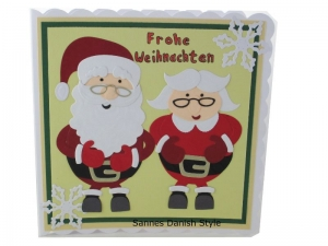 Weihnachtskarte, Weihnachtsmann und seine Frau, schöne Weihnachtsgrüße, für groß und klein, die Karte ist ca. 15 x 15 cm - Handarbeit kaufen