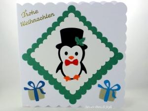 Weihnachtskarte mir süße Pinguin, Weihnachtsgeschenke, schöne Weihnachtsgrüße, für groß und klein, die Karte ist ca. 15 x 15 cm - Handarbeit kaufen