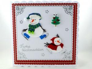 Schneemänner mit Schlittschuhe, Weihnachtsgeschenke, schöne Weihnachtsgrüße, für groß und klein, die Karte ist ca. 15 x 15 cm - Handarbeit kaufen