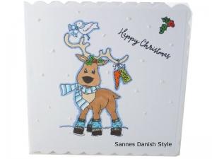 Happy Christmas, Weihnachten, Weihnachtsgrüße mit Rentier, Weihnachtsgrüße, gleich kaufen, die Karte ist ca. 15 x 15 cm - Handarbeit kaufen
