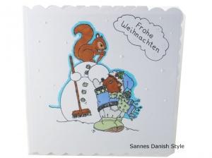 Schneemann Weihnachtskarte, Frohe Weihnachten, Weihnachtsgrüße mit Igel, Weihnachtsgrüße, gleich kaufen, die Karte ist ca. 15 x 15 cm - Handarbeit kaufen