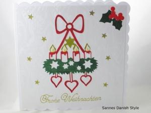Adventskranz, Weihnachtskarte, Adventszeit, Frohe Weihnachten. Weihnachtsgrüße, die Karte ist ca. 15 x 15 cm - Handarbeit kaufen