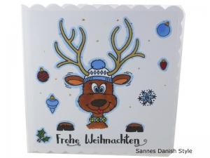 Frohe Weihnachten, Weihnachten, Weihnachtsgrüße mit Rentier, Weihnachtsgrüße, gleich kaufen, die Karte ist ca. 15 x 15 cm - Handarbeit kaufen