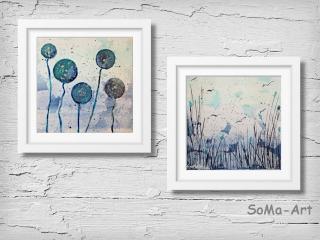 Acrylbild ☆Duo Kugelblumen & Am See ☆ 20cm x 20 cm, Acrylbild auf Papier, Moderne Malerei ** SoMa_Art