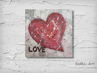 Acrylbild ☆LOVE☆ Kunst Dekoration, Herz, Leinwand, Moderne Malerei ** SoMa_Art