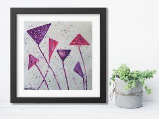 Acrylbild ☆ Blumen Unrund☆ Dekoration, Kunst, Abstrakt,,Acrylbild auf Papier, Moderne Malerei ** SoMa_Art