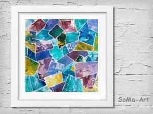 Acrylbild ☆ Bunt und Unrund ☆ Dekoration, Kunst, Kleine Bilder,Acrylbild auf Papier, Moderne Malerei ** SoMa_Art