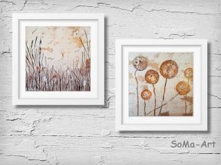 Acrylbild ☆Kugelblumen & Am See ☆ Kunst, Acrylbild auf Papier, Moderne Malerei ** SoMa_Art