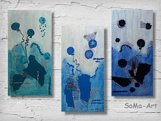 Acrylbild ☆Blue Ballons Trio☆ Kunst, Collage, Leinwand, Moderne Malerei ** SoMa_Art