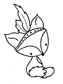 Bügelbild Fuchs als Indianer 7,5 cm x 11 cm