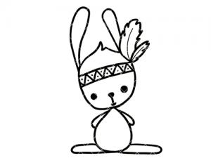 Bügelbild Hase als Indianer 13 cm x 9 cm