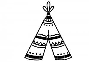 Bügelbild Tipi - Indianer Zelt 10 cm x 13 cm