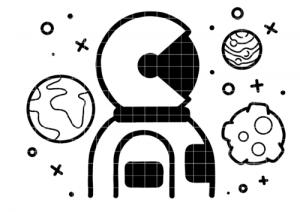 Bügelbild Astronaut und Planeten 12,5 cm x 10 cm