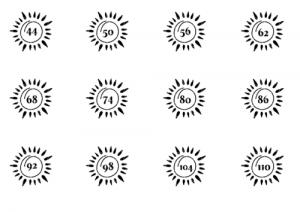 Vier Größenetiketten mit einer Sonne zum aufbügeln auf Kleidung