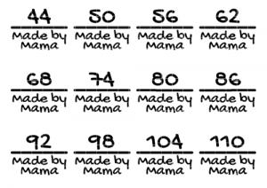Vier Größenetiketten Made By Mama zum aufbügeln auf Kleidung