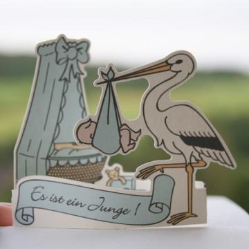 Geburtskarte ★ Blau oder Rosa ★ Babykarte ★ Junge oder Mädchen ★ Karte zur Geburt mit Storch und Wiege ★ Pop-Up-Karte ★ Glückwünsche zur Geburt ★ hollanddesign
