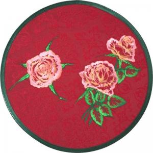 Rundes Deckchen mit Rosenmotive bestickt  - Handarbeit kaufen