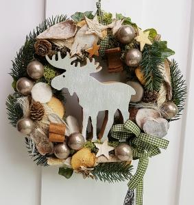 Türkranz Weihnachten Weihnachtskranz Adventskranz Elch