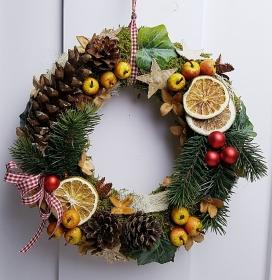 Türkranz Weihnachten Weihnachtskranz Adventskranz Äpfel