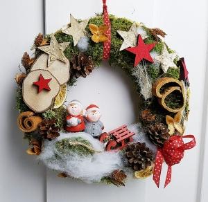 Türkranz Winterkinder Weihnachten Dekokranz